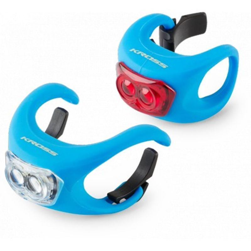 set-luces-led-bicicleta-kross-silicon-set-azul