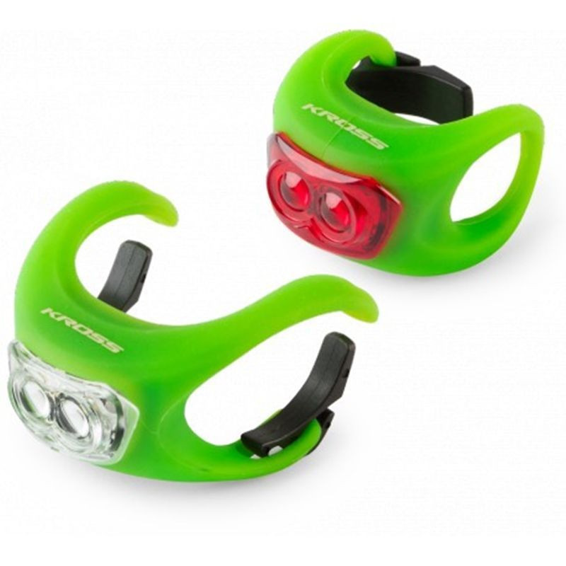 set-luces-led-bicicleta-kross-silicon-set-verde